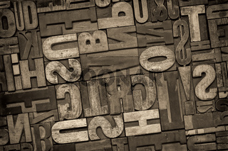 letterpress wood type abstract