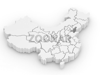 Three-dimensional map of China on white isolated background. 3d