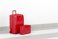 Red travel bags