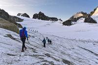 Alpinists on the Glacier du Tour before sunrise, Chamonix, Haute-Savoie, France