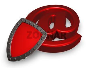 schutzschild und emailsymbol - 3d illustration