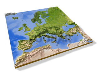 Europe, 3D relief map.