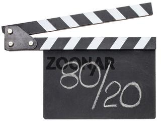 Pareto principle, eighty-twenty rule on clapboard