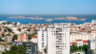 above view of modern district of Marseilles city