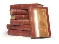 Education, knowledge and reading concept. Pile of old red books and door with light  isolated on white.