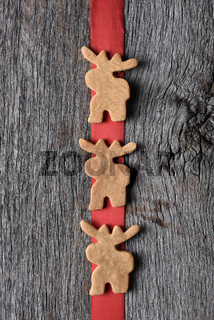 Moose Cookies on Red Ribbon