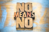 No means ...  anti-rape slogan in wood type