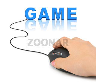 Hand with computer mouse and Game