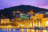 Split waterfront and Marjan hill colorful dusk view