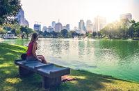 Woman in park in Bangkok