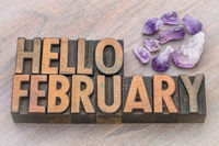 Hello February in vintage wood type