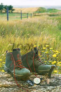 Hiking boots with knife and compass on log in field