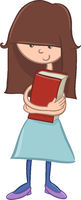 school girl character with book
