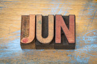 June month in vintage wood type