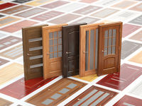 Different wooden doors on catalog with samples. Interior design and construction concept.