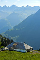 Mountain pasture dairy on the pass Col de Jaman, Les Avants, Vaud, Switzerland
