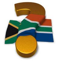 flagge von südafrika und fragezeichen - 3d illustration
