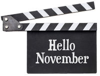 Hello November text on clapboard