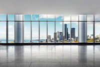 empty office with cityscape of modern city