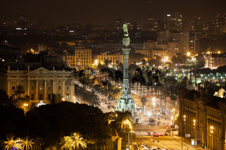 Barcelona Cityscape and Columbus Monument by Night