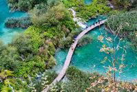 Birds eye view of Plitvice lakes