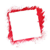 Red square stenciled frame