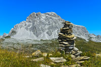 Steinmann am Wanderweg zum Gipfel Sulzfluh