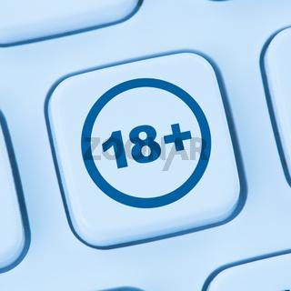 Warnsymbol Computer ab 18 Jahren Schutz Kinder Internet surfen blau web