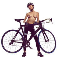 Naked woman with a bicycle. Studio shot, isolated on a white background