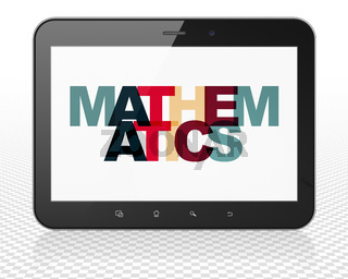 Learning concept: Tablet Pc Computer with Mathematics on  display