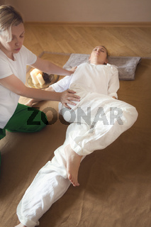 Young woman having massage treatment