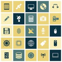 Flat design icons for technology and devices