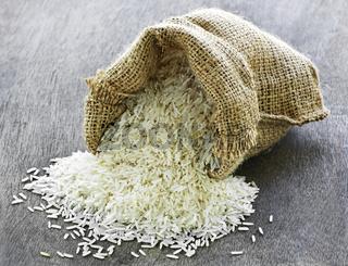 Long grain rice in burlap sack
