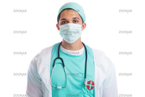 Junger Arzt Doktor Mundschutz Beruf Arztkittel Freisteller