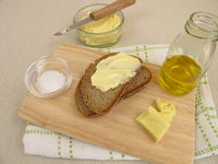 Homemade vegan margarine on bread