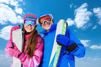 Couple with skis