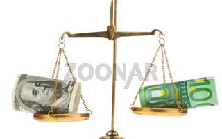 Euro-Geldscheine und Dollar