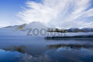Fruehnebel am Lago Blanca, Pumalin-Park, Carretera Austral, Chile, foggy morning on Lago Blanca, Park Pumalin