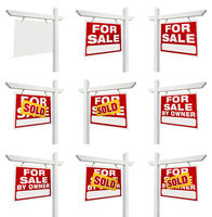 Complete Set of Real Estate Signs with For Sale, Sold, For Sale By Owner and Blank Isolated on White.