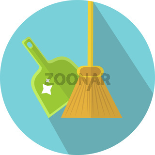 Scoop and broom icon flat style. Cleaning icon. Vector illustration.