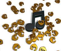 Musiknote und eurosymbole - 3d rendering