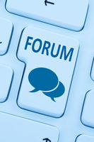 Forum Kommunikation Community Internet Blog Medien Button drücken blau Computer web