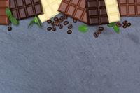Schokolade Tafel Schiefertafel Essen Textfreiraum von oben