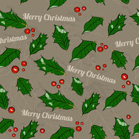 Seamless Christmas texture with holly leaves.