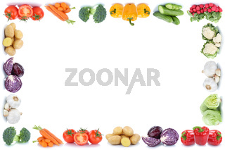 Gemüse Karotten Tomaten Paprika Salat Rahmen Textfreiraum Copyspace Essen Freisteller
