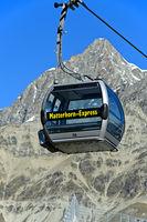 Empty gondola of the Matterhorn Express cable car, Zermatt, Valais, Switzerland