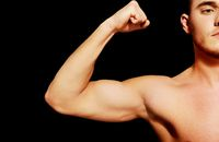 Biceps muscle of a young athletic man