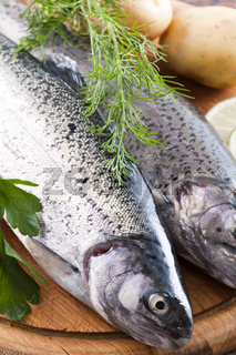 Two fresh rainbow trout with potatoes and herbs as closeup on a wooden chopping board