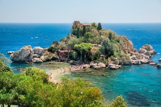 Famous beach Isola Bella at Sicily, Italy