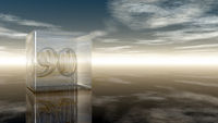 die zahl neunzig in glaswürfel unter wolkenhimmel - 3d illustration